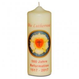Kerze Lutherrose, groß