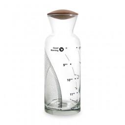 Karaffe, Welle 8-18h, schwarz, Glas, 1l, Nussbaum