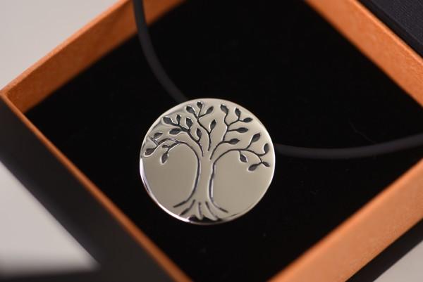 Schmuckset Baum des Lebens aus Silber mit Kautschukkette