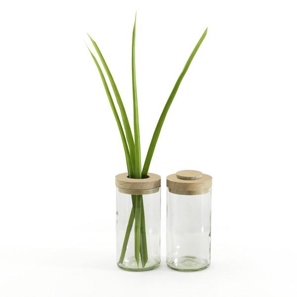 Vase und Dose, klar