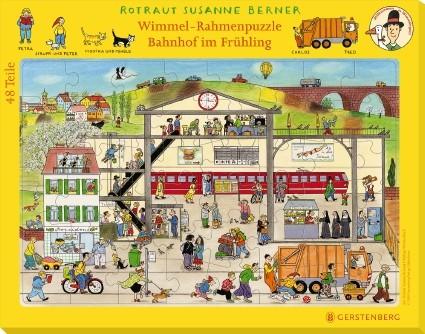Wimmel-Rahmenpuzzle Frühling Motiv Bahnhof