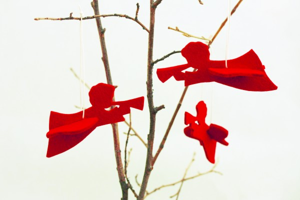 Deko- Engel rot aus Wollfilz, 3er-Set