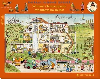 Wimmel-Rahmenpuzzle Herbst Motiv Wohnhaus