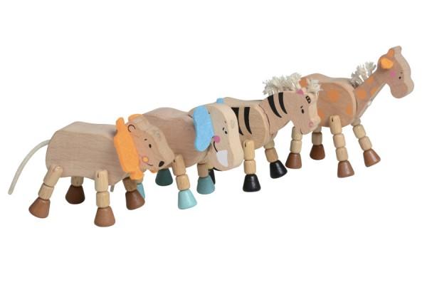 4 bewegliche Safari-Spielfiguren aus Holz