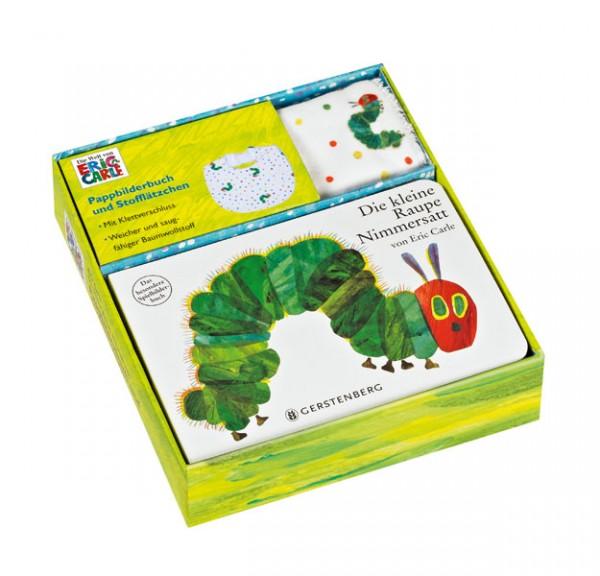 Die kleine Raupe Nimmersatt - Geschenkset Pappbilderbuch mit Stofflätzchen