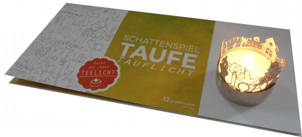 Taufe-Windlicht-Schattenspiel mit Grußkarte