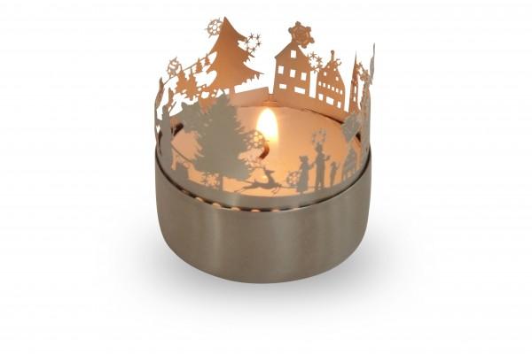 Weihnachtszeit, Windlicht- Schattenspiel mit Grußkarte