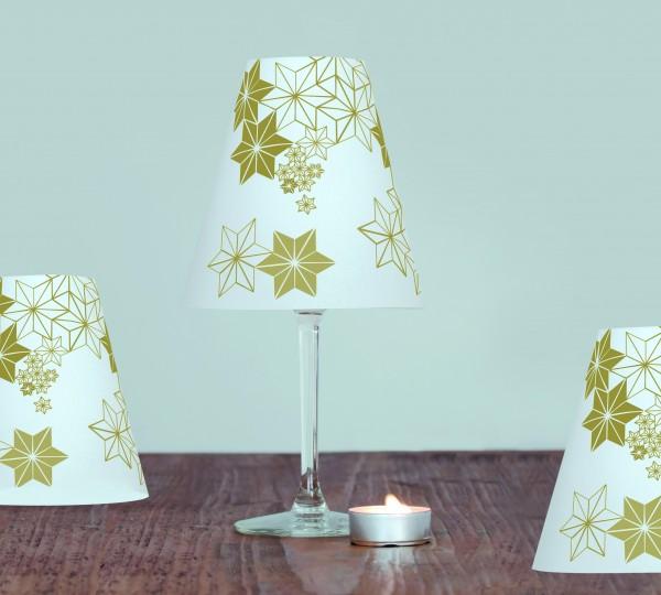 Goldene Sternenhelene - 3 Schirme mit goldenen Sternen